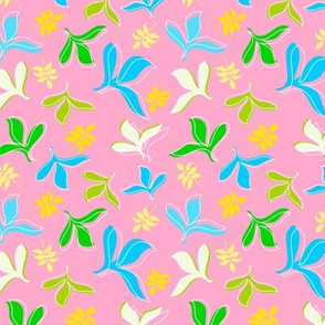 Blue, Green and Yellow Leaves on Pink Background