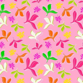 Hot Pink, Magenta, Green, Orange and Yellow Leaves on Pink Background