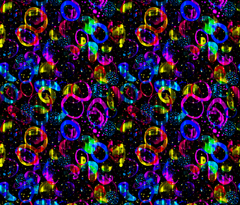 Sweet As Candy - colorful neon circles on black fabric by lolahstudio on Spoonflower - custom fabric