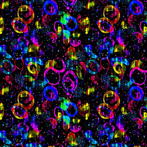Sweet As Candy - colorful neon circles on black
