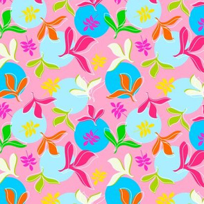 Multi Colour Leaves on Pink Background with Large Blue and Aqua Dots