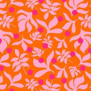 Pink Leaves on Orange Background with Hot Pink Dots