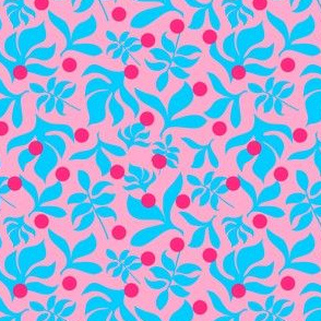 Blue Leaves on Pink Background with Hot Pink Dots