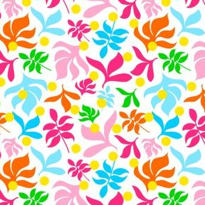 Leaves in Multi Colour with Yellow Dots on White Background