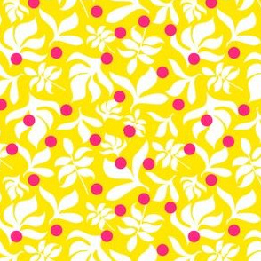 White Leaves on Yellow Background with Red Dots