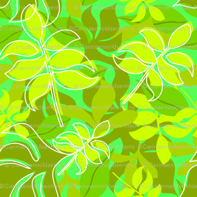 Leaves in Green on Green Background with Scattered White Outlines