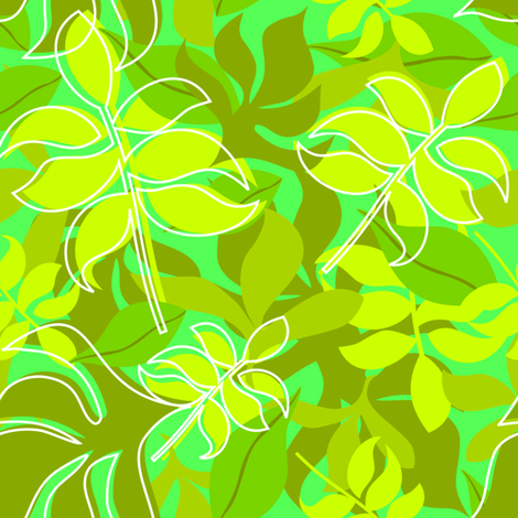 Leaves in Green on Green Background with Scattered White Outlines fabric by carinaenvoldsenharris on Spoonflower - custom fabric
