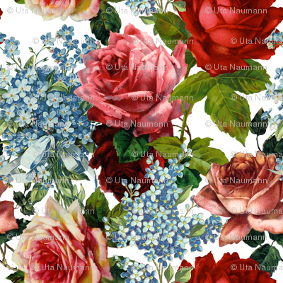 Roses and Forget Me Not - Large 18in