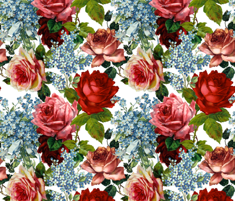 Roses and Forget Me Not - Large 18in fabric by utart on Spoonflower - custom fabric