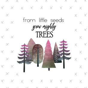"18X27"" PINK From Little Seed Grow Mighty Trees - MINKY SIZE"