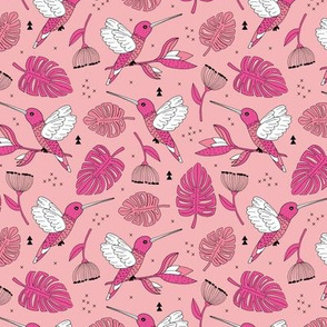 Hummingbird tropical garden jungle pattern with monstera leaves and paradise bird flowers pink apricot girls summer spring MEDIUM