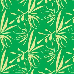 Green Ginger Leaves and Twigs on Emerald Green - Medium Scale