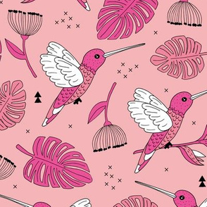 Hummingbird tropical garden jungle pattern with monstera leaves and paradise bird flowers pink apricot girls summer spring
