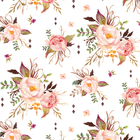 Blush Watercolor Floral - Peach Pink Cream Flowers - SMALL SCALE fabric by gingerlous on Spoonflower - custom fabric