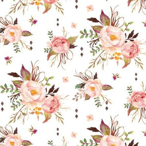 Blush Watercolor Floral - Peach Pink Cream Flowers - SMALL SCALE