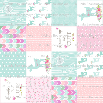 Baby Deer Patchwork – I Woke Up This Cute – Mint Pink Lilac Cheater Quilt Floral Wholecloth (rotated)