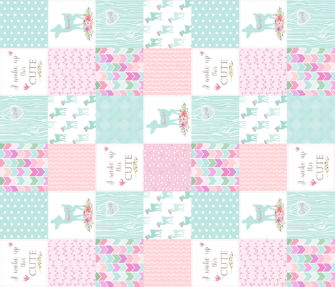 Baby Deer Patchwork – I Woke Up This Cute – Mint Pink Lilac Cheater Quilt Floral Wholecloth (rotated) fabric by gingerlous on Spoonflower - custom fabric