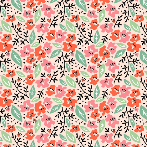 Tilly Flower Field Blush fabric by sheri_mcculley on Spoonflower - custom fabric