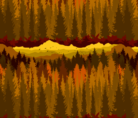 PNW Mountain Landscape in Autumn Sunset Orange fabric by elliottdesignfactory on Spoonflower - custom fabric