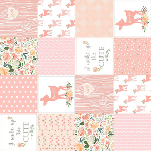 Fawn Quilt – I Woke Up This Cute - Peach Patchwork Floral Wholecloth (rotated)