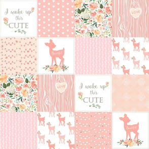 Fawn Quilt – I Woke Up This Cute - Peach Patchwork Floral Wholecloth