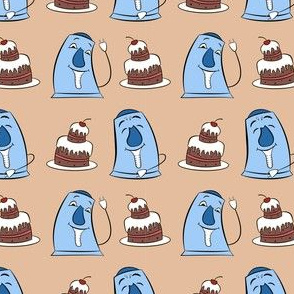 blue teapots and cakes