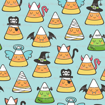 Candy Corn Halloween Fall Doodle on Light Blue