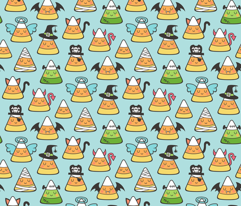 Candy Corn Halloween Fall Doodle on Light Blue fabric by caja_design on Spoonflower - custom fabric