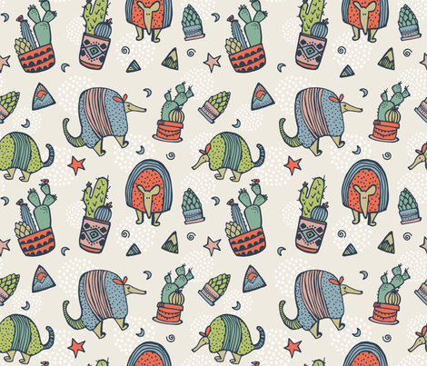 Armadillos & Cactus (small) fabric by thedoodlingdesigner on Spoonflower - custom fabric