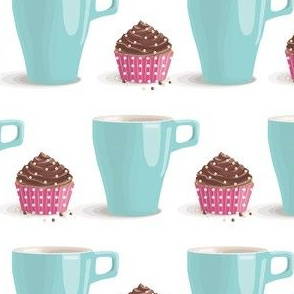 turquoise cup and chocolate cake