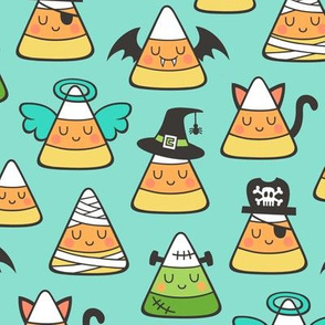 Candy Corn Halloween Fall Doodle on Mint Green