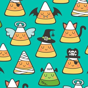Candy Corn Halloween Fall Doodle on Green