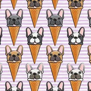 French bull dog icecream cones - purple stripes