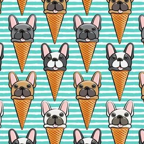 French bull dog icecream cones - teal stripes