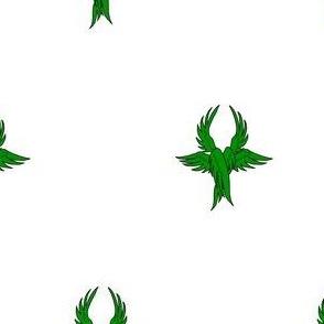 Argent, seraph's wings vert
