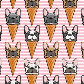 French bull dog icecream cones - pink stripes