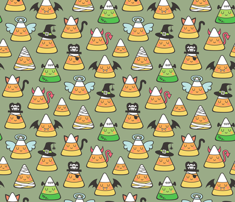 Candy Corn Halloween Fall Doodle on Olive Green fabric by caja_design on Spoonflower - custom fabric