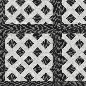 Cerused Wood  Square Diagonal Weave Black White
