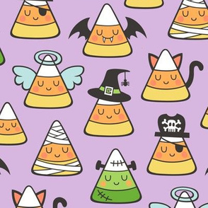 Candy Corn Halloween Fall Doodle on Light Purple