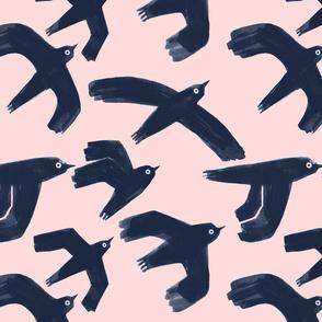 birds on pink