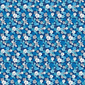 Blue, white and grey flowers with dots on navy background