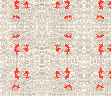 Red fishes and circles fabric by blue_banana_patterns on Spoonflower - custom fabric