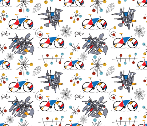 Mondrian bicycle atomic circles fabric by peppermintpatty on Spoonflower - custom fabric