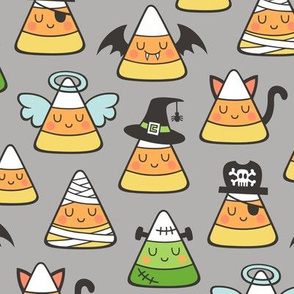 Candy Corn Halloween Fall Doodle on Grey