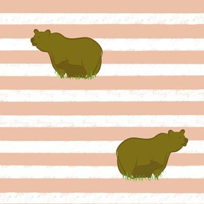 Pastel Peach stripe, mama and baby bear