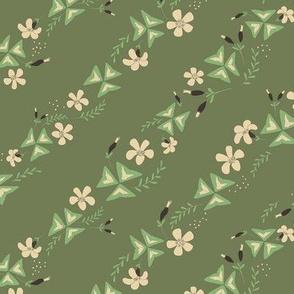 Shamrock Floral Diagonal / Olive