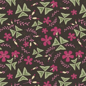 Purple Shamrock Floral Ditsy / Chocolate