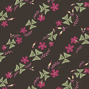 Purple Shamrock Floral Diagonal / Chocolate