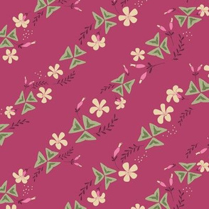 Purple Shamrock Floral Diagonal / Dark Pink