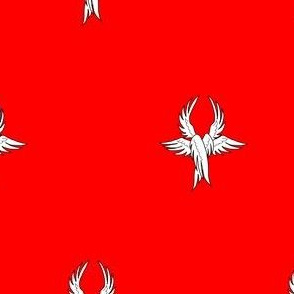 Gules, seraph's wings argent